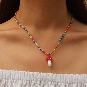 Bohemian Women's Multicolor Beads Handmade Necklaces For Women Boho Fashion Glass Mushroom Pendant Necklace Ladies Jewelry Gift