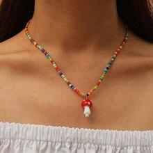Boêmio feminino multicolorido contas feito à mão colares para mulheres boho moda vidro cogumelo pingente colar senhoras jóias presente