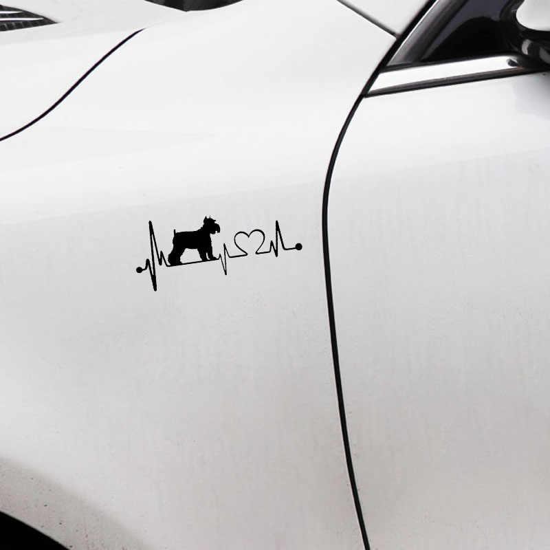 Schnauzer автомобильные наклейки с собаками, 15,2*6,4 см, водонепроницаемые виниловые наклейки, Стайлинг автомобиля, украшение бампера, черный/серебристый, с рисунком в виде сердечных сокращений