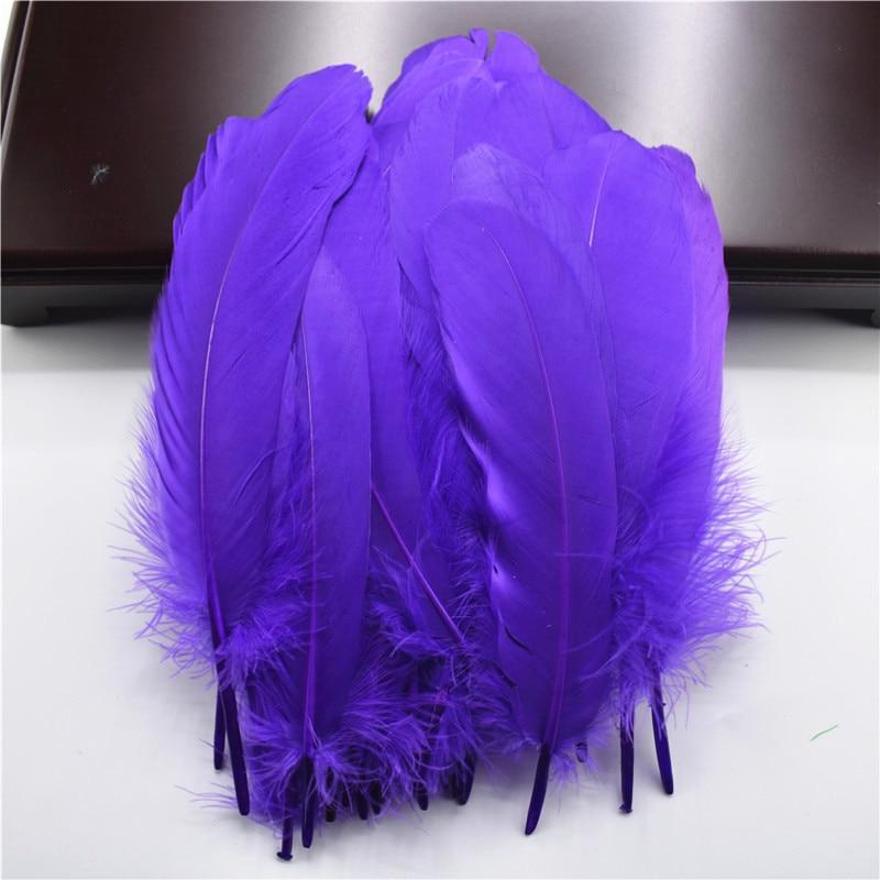 Жесткий полюс, натуральные гусиные перья для рукоделия, 5-7 дюймов/13-18 см, самодельные ювелирные изделия, перо, свадебное украшение для дома - Цвет: Purple