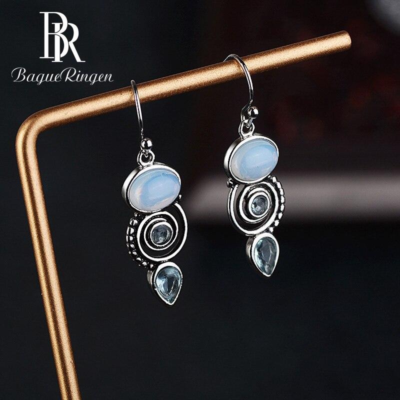 Bague Ringen Vintage 925 Sterling Silver Earrings With Blue Topaz  Drop Dangle Earrings For Women's Gift Party Jewelry