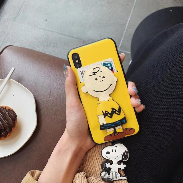 Hot Cute Cartoon Charlie Brown Soft Leather Card Case