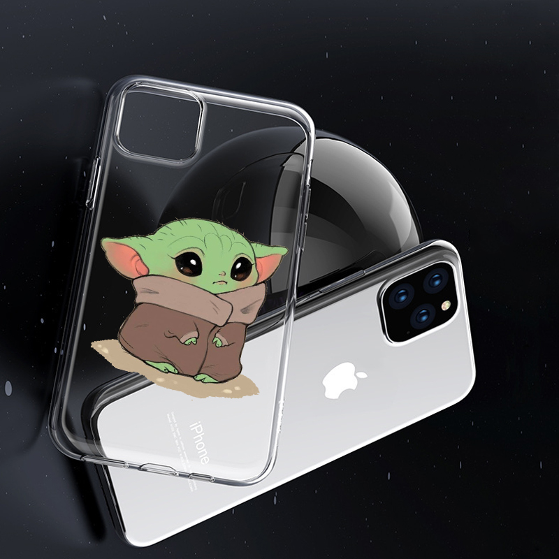 coque Cartoon Cute Baby Yoda Meme for iPhone 5 5S SE 6 6S 7 8 X XS Max XR 11 Pro Max Plus phone case cover Transparent silicone image