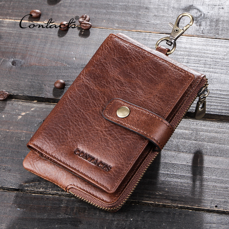 CONTACT'S Genuine Leather Men Key Wallets Male Car Keys Holder Case Housekeeper Small Coin Purse Zipper Hasp Design Keychain