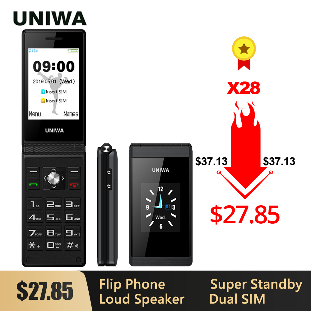 UNIWA X28 Senior Flip Mobile Phone GSM Big Push-Button Flip Phone Dual Sim FM Radio Russian Hebrew Keyboard Clamshell Cellphone