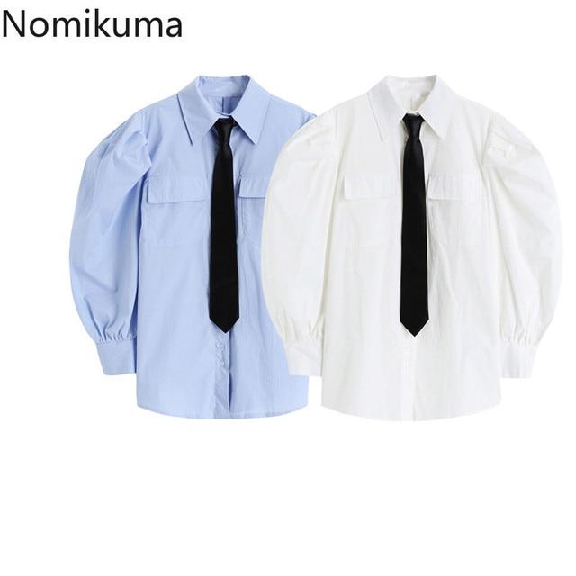 Nomikuma Japanese Puff Sleeve Women Shirt Causal Turn-down Collar Tie Blouse Top 2021 Spring New Causal Blusas Mujer 6E761 2