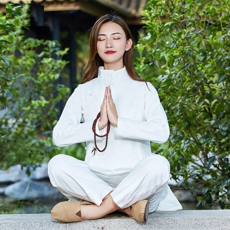 Thickened Enlarged widened soft Cotton Hemp Yoga Taiji Kuangfu practice master meditation Guqin playing  teaism  two piece suit
