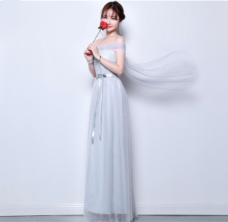 Gray Burgundy Bridesmaid Dress Tulle Elegant Dress Women For Wedding Party Off The Shoulder Sexy Dress Prom Azul Royal Vestidos