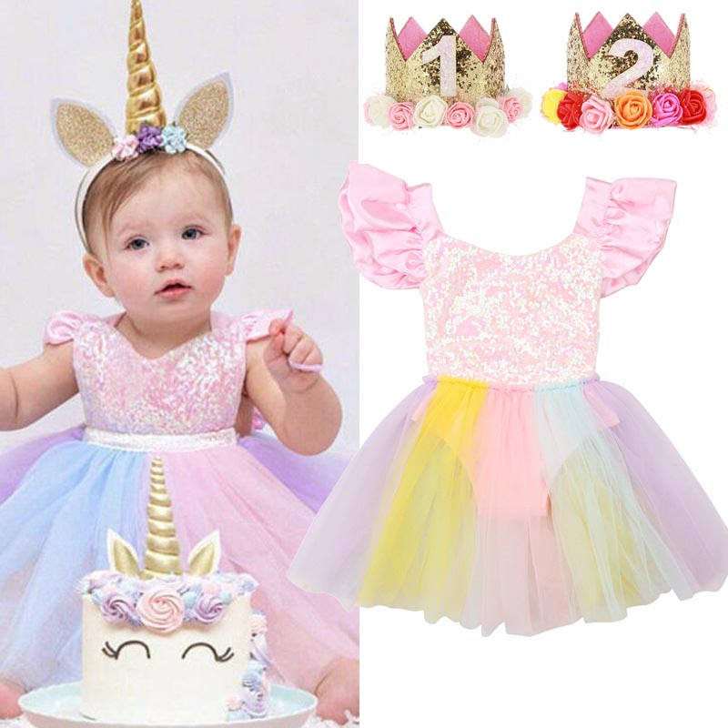 New Born Baby Clothes Unicorn Dress Baby Girls First Birthday Outfit Rainbow Dresses Sequined Tutu Dress Party Toddler Costume