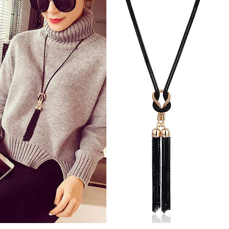 2021 New Arrival Female Pendant Necklace Tassel Long Winter Sweater Chain Necklace Necklace Wholesale Sales