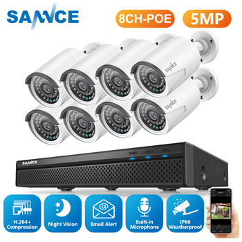 SANNCE 8CH 5MP FHD POE Video Surveillance Cameras System H.264+ 5MP NVR With Outdoor Waterproof Security IP Cameras Audio Record 1