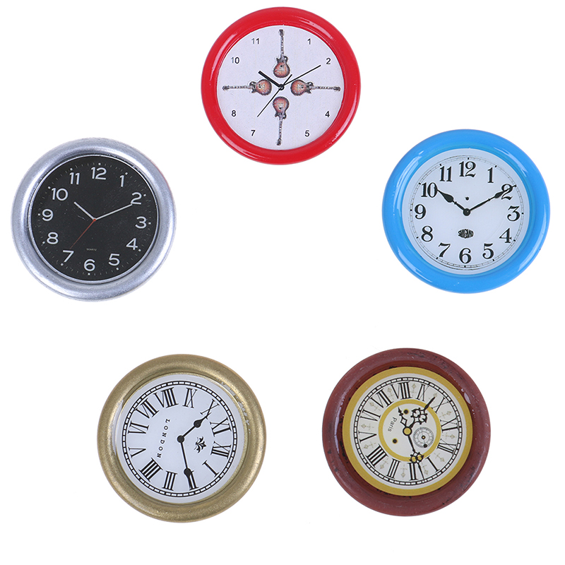 1:12 Scale Resin Dollhouse Miniature Wall Clock Play Doll House Miniature Home Decor Accessories Toy Pretend Play Furniture Toy