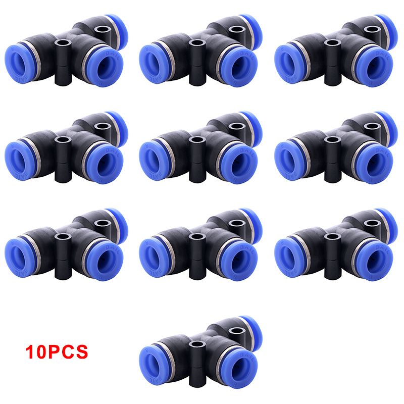10pcs Pneumatic T Shaped Tee Union Connector Tube One Touch Push In Air Fitting Hose Home Air/Water Hose Tube OD 6mm Adapters