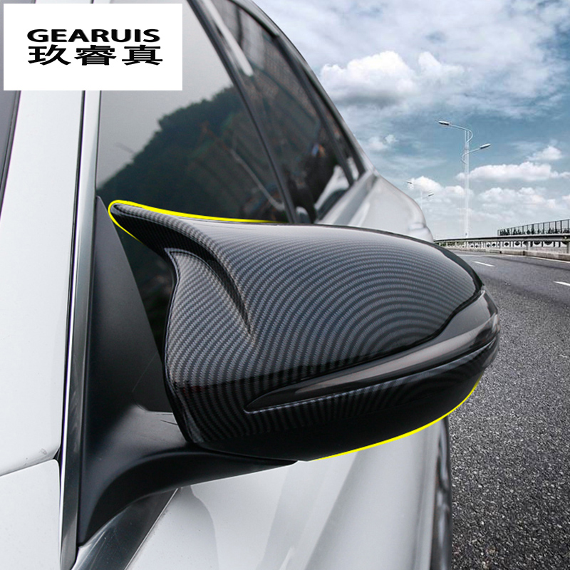 Car styling Carbon fiber for <font><b>Mercedes</b></font> <font><b>Benz</b></font> C E class W205 <font><b>W213</b></font> GLC rearview mirror frame door Horn Covers Stickers <font><b>accessories</b></font> image