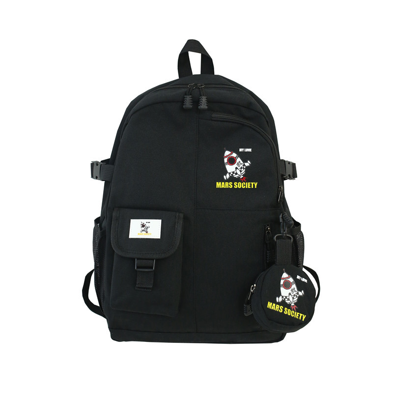 Style Retro Color Matching Locomotive Ins Student Bag Harajuku Style Small Pocket Hit Color Junior High School Student Backpack