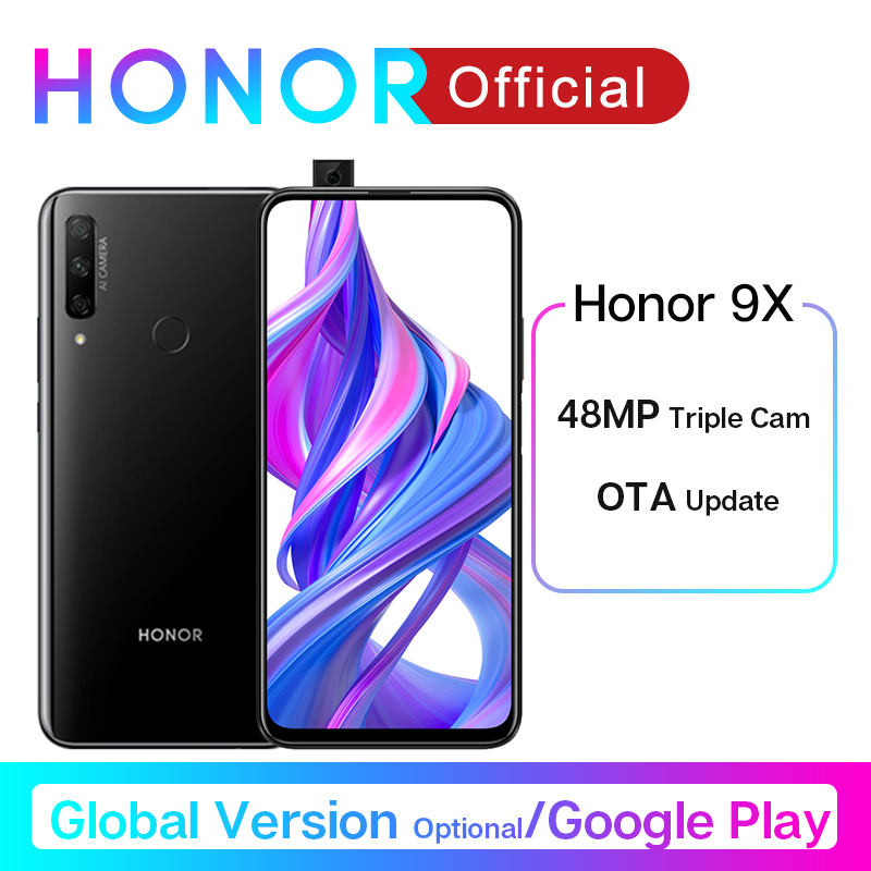 Honor 9X Smartphone Google Play 48MP Triples Camera 6.59'' Mobile Phone Android 9 4000mAh Full Screen Turbo 3.0