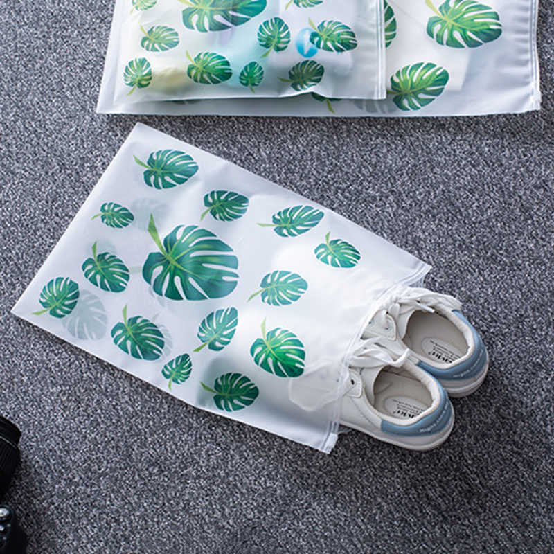 Impresión de hoja de bolsas de almacenamiento de viaje organizador de ropa y zapato s ropa interior organizador de armario guardarropa bolsas para ropa y zapato