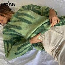 Aproms Elegant Green Striped Print Oversized Pullovers Women Winter O-Neck Loose Long Sweaters Streetwear Warm Outerwear 2020