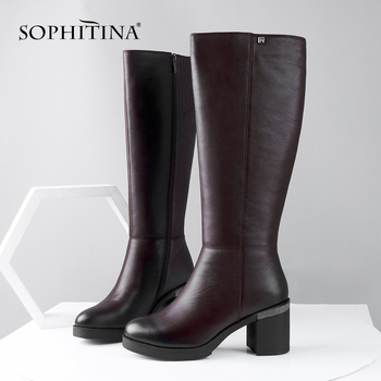SOPHITINA Wool Winter Boots High Quality Genuine Leather Comfortable Round Toe Square Heel Shoes New Handmade Women Boots C624 sophitina fashion round toe ladies boots casual metal decoration med heel shoes winter basic solid square heel women boots so203