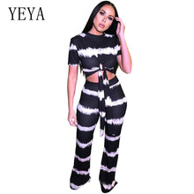 YEYA Women 2 Piece Outfits Printed Top Long Pants Bodycon Casual Set Female Party Club Fashion Two Striped Sets