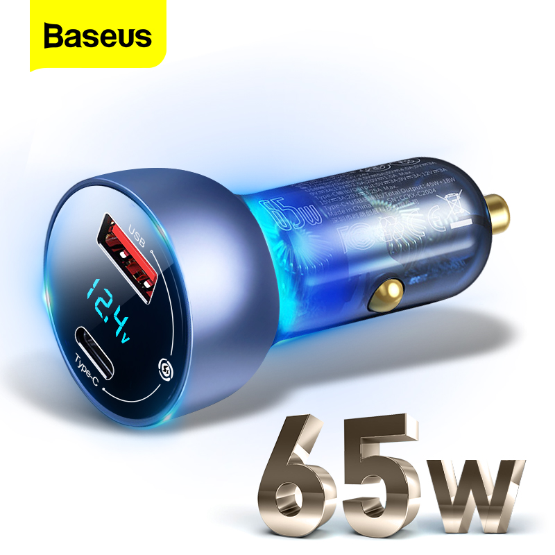Baseus 65W USB Car Charger Quick Charge 4.0 3.0 QC4.0 QC3.0 Type C PD Fast Car Charging Charger For iPhone Xiaomi Mobile Phone(China)