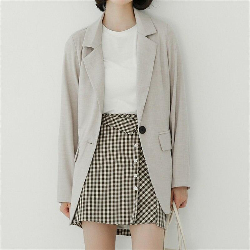 HziriP 2019 England Style Elegant Brief OL Fresh Tops Fashion Feminine Women Loose Solid Office Ladies Autumn All Match Blazers