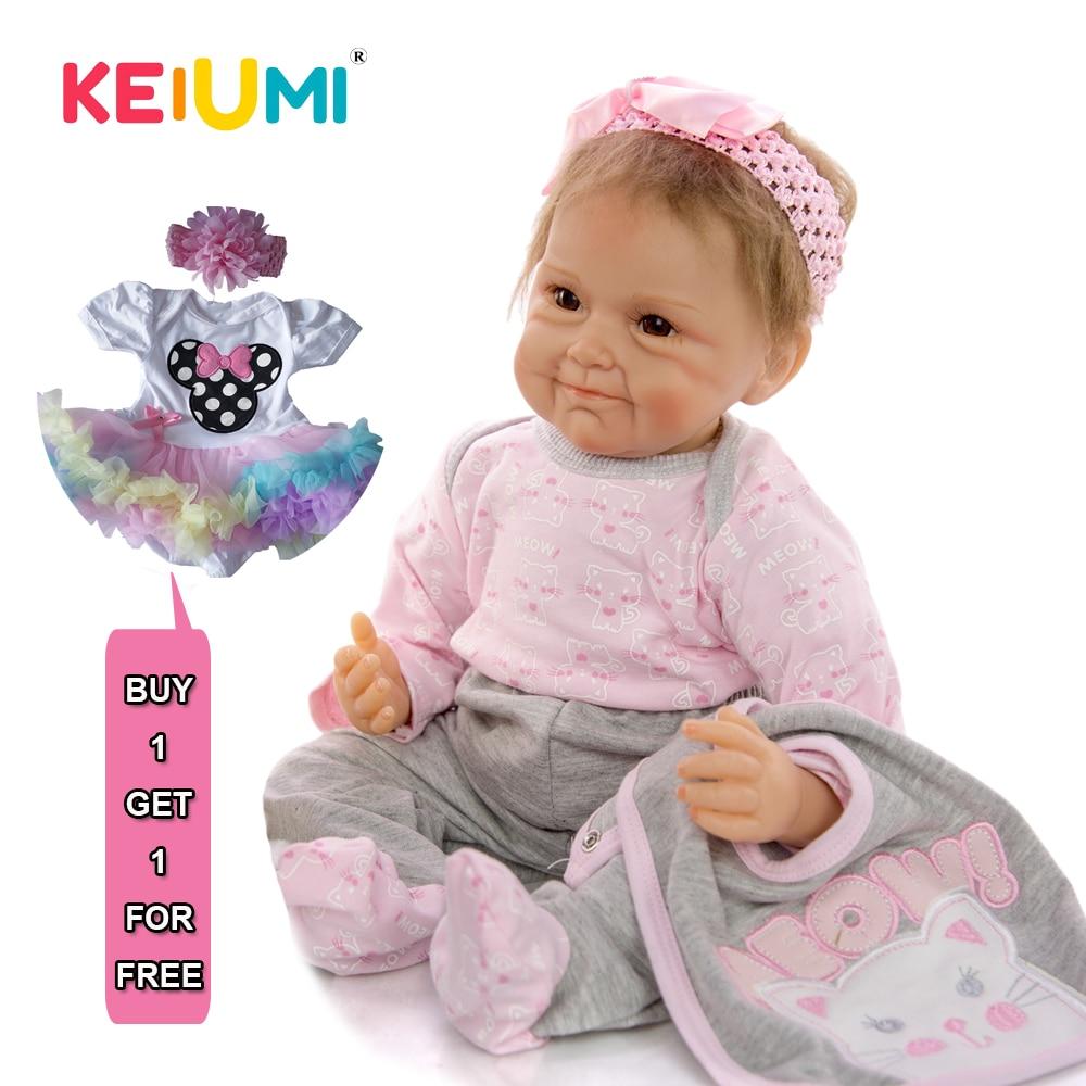 KEIUMI 22 ''coleccionable sonrisa divertida bebé silicona Reborn Boneca Menina 55 cm personalizado realista Reborn Baby Doll regalo de cumpleaños-in Muñecas from Juguetes y pasatiempos    1