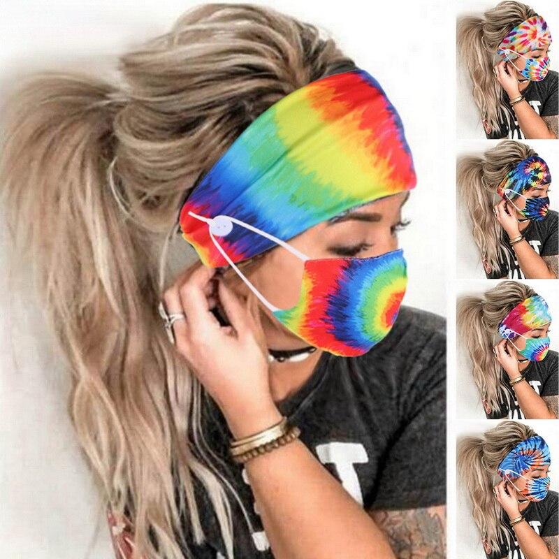Tie Dye Taste Mit Maske Halter Elastische Turban Headwrap Haarband Zubehör Frauen Kopf Wrap Haar Bands