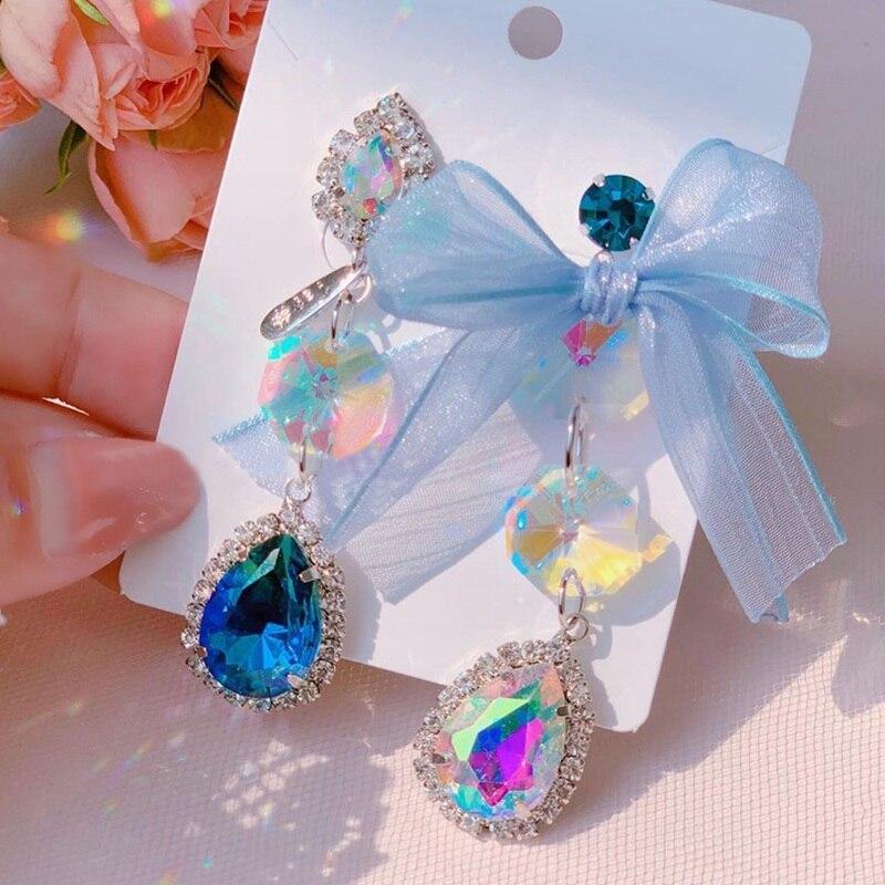 MENGJIQIAO, pendientes largos elegantes coreanos asimétricos con lazo de hilo, pendientes de gota de cristal a la moda para mujer, regalos de joyería para fiesta y vacaciones