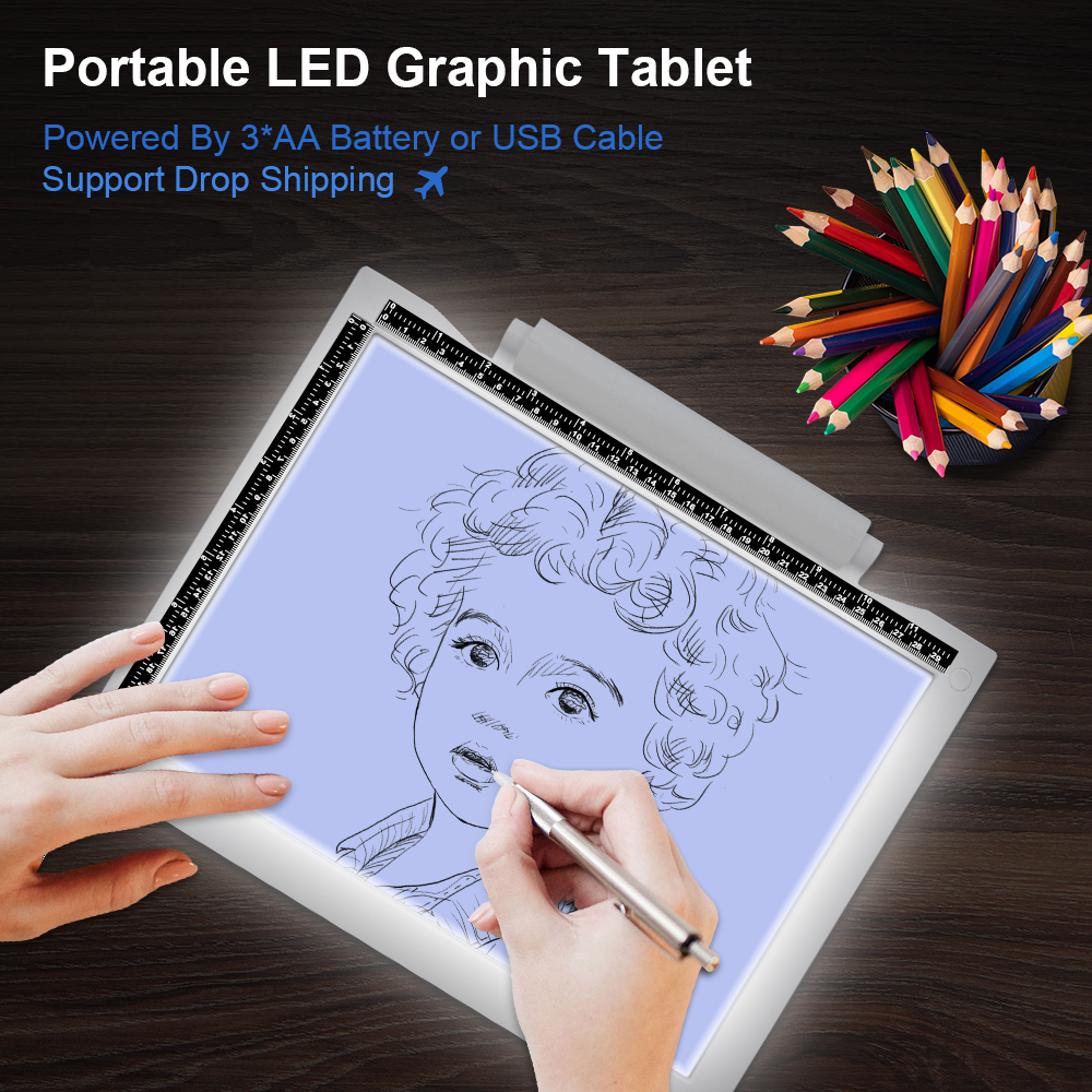 Writing Painting Portable Copy Pad Board Sketch Hotfix Rhinestone Wireless LED Light Box A4 Tracer Drawing Graphic Tablet