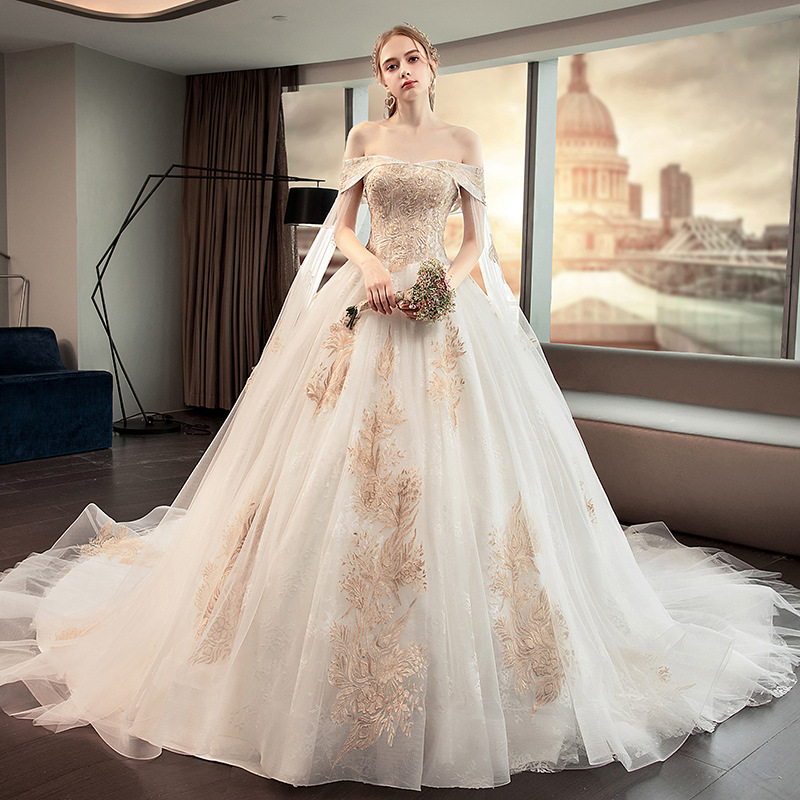 Mrs Win Wedding Dress Luxury Boat Neck Classic Lace Embrodery Lace Up Ball Gown Princess Plus Size Bridal Gown Vestido De Noiva