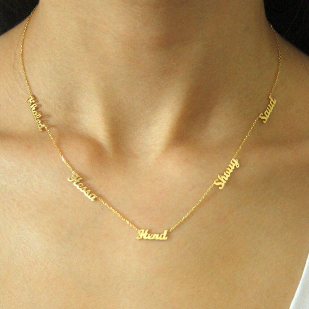 Nach 1-6 Mehrere Namen Halskette Personalisierte Edelstahl Familie Zahlen Typenschild Anhänger Halskette Schmuck Mama Papa Geschenke