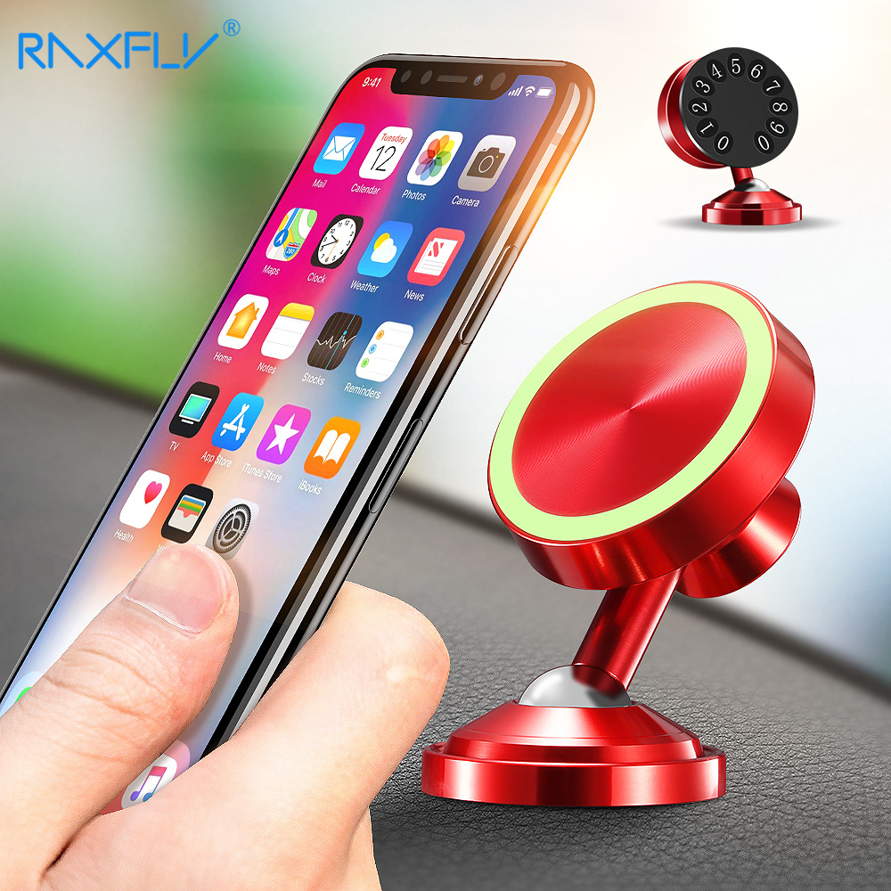 RAXFLY Magnetic Holder For Phone In Car Mobile Phone Stand With Parking Card 360 Degree Strong Magnet Car Number Mount Holder