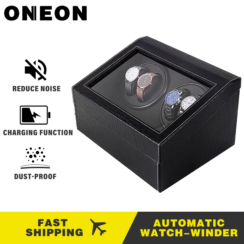 ONEON Fashion Luxury Watch Winder Open Motor Stop Mute Automatic Watch Display Box Winders Crocodile Pattern Wood Leather Winder
