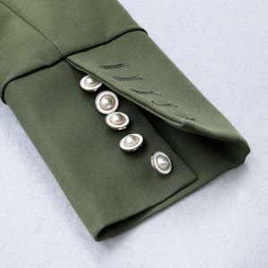 Image 4 - HIGH STREET 2020 Newest Stylish Designer Dress Womens Long Sleeve Slim Fitting Pockets Army Green Sheath Mini Dress