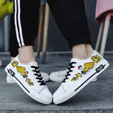 New Graffiti Sneakers  Lace Up Casual Super Cute Pokemon Pikachu Shoes Cartoon Canvas Vulcanized Couple Off White