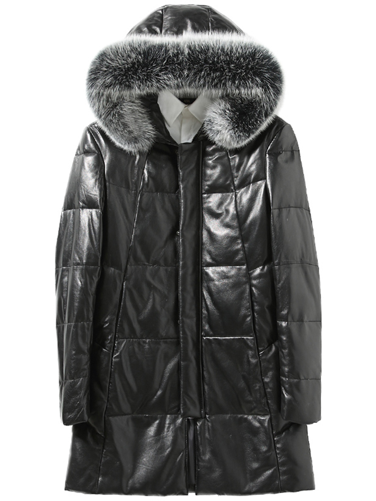 Men's Sheepskin Coat Genuine Leather Winter Duck Down Jacket Men Fox Fur Collar Hooded Long Coat Men Jacket 726 KJ1448