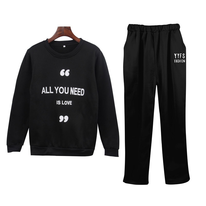2019 Autumn And Winter New Style Amazon Large Size Dress Leisure Sports Suit Lettered Printed Hoodie Trousers Two-Piece Set