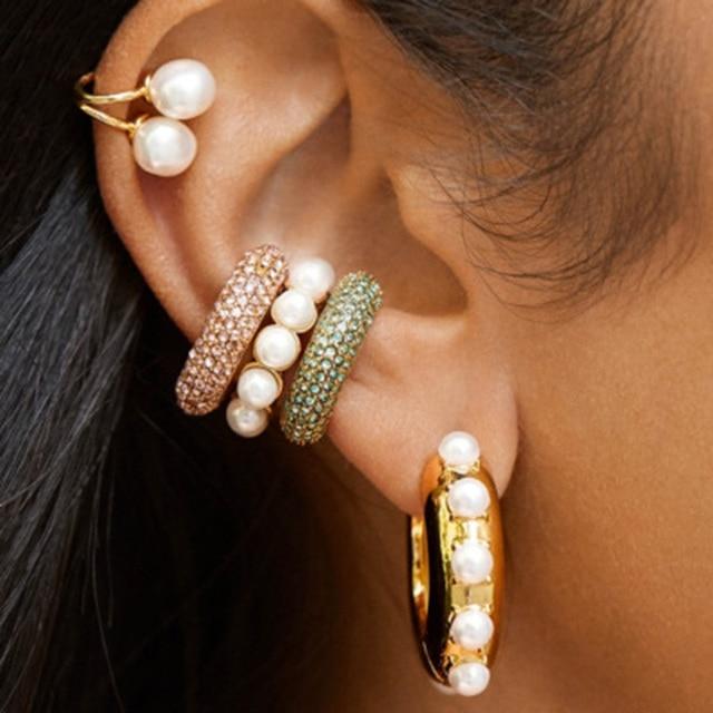 Dvacaman nouvelle mode perle oreille manchette Boho empilable en forme de C CZ strass petites oreillettes Clip boucles doreilles pour les femmes bijoux de mariage