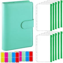 12-Piece A6 Binder Pocket with Notebook Cover, PU Leather Binder Cover, Bill Management, Card Storage