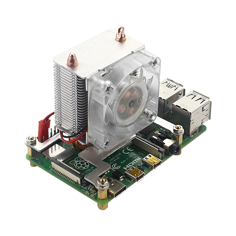 Tower Cooling Fan Super Heat Dissipation 7 Color Light Fan with Heat Sinks for Raspberry Pi 4B/3B+/3B|Fans & Cooling Accessories| |  - title=