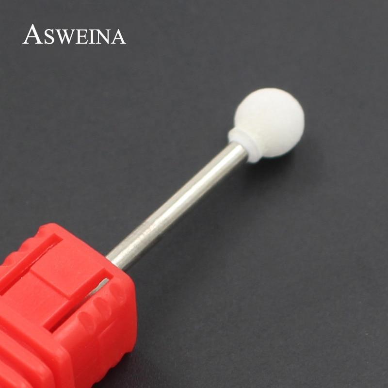 ASWEINA 1Pcs Ceramic Stone Spherical Burrs White Color Nail Art Drills Bit Electric Manicure Machine Accessories Nail Art Tools