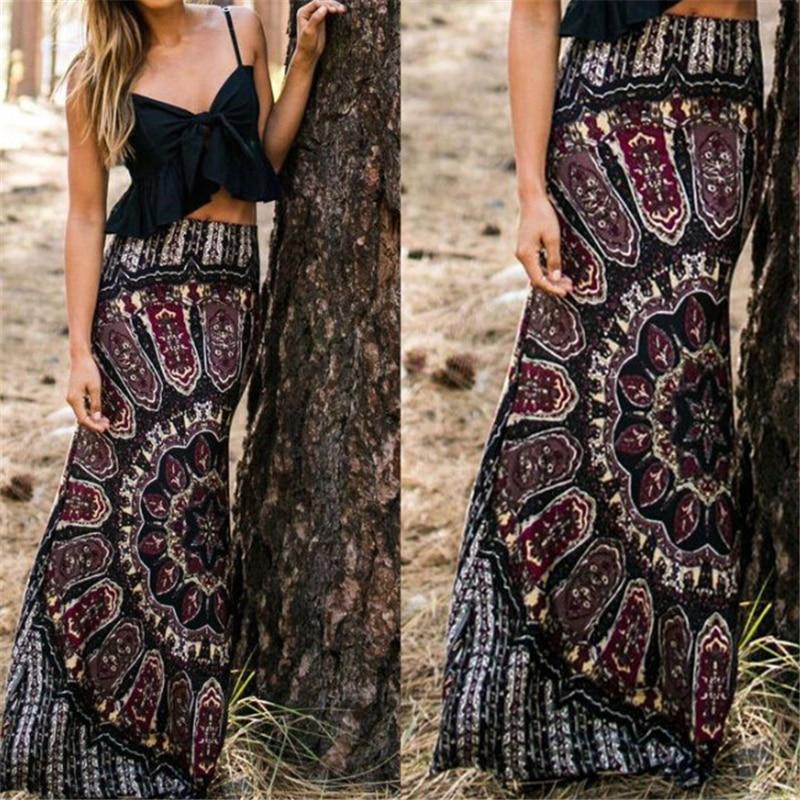 2020 Women Skirt Long Summer Boho Maxi Evening Party Skirts Fashion Ladies High Waist Skirt Retro Vintage Print Beach Sundress