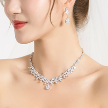 WEIMANJINGDIAN Shining Cubic Zirconia Crystal Peardrop and Marquise CZ Necklace and Earring Bridal Wedding Jewelry Set