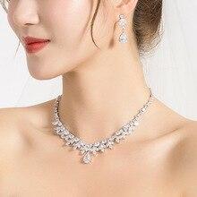 WEIMANJINGDIAN collar y pendientes de circonia cúbica brillante, cristal de perla y marquesa CZ, conjunto de joyería nupcial para boda