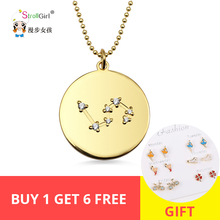 купить StrollGirl 100% 925 Sterling Silver New Design 12 Constellation Disc Necklace Women Golden Fashion  Pendant Gift Free shipping недорого