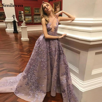 Smileven Lace Mermaid Evening Dress 2019 Formal Prom Gown Detachable Train Evening Party Dresses Custom Made fashion ivory mermaid long evening dresses women 2019 evening gown scoop stretch fabric lace zipper sleeveles formal party dress