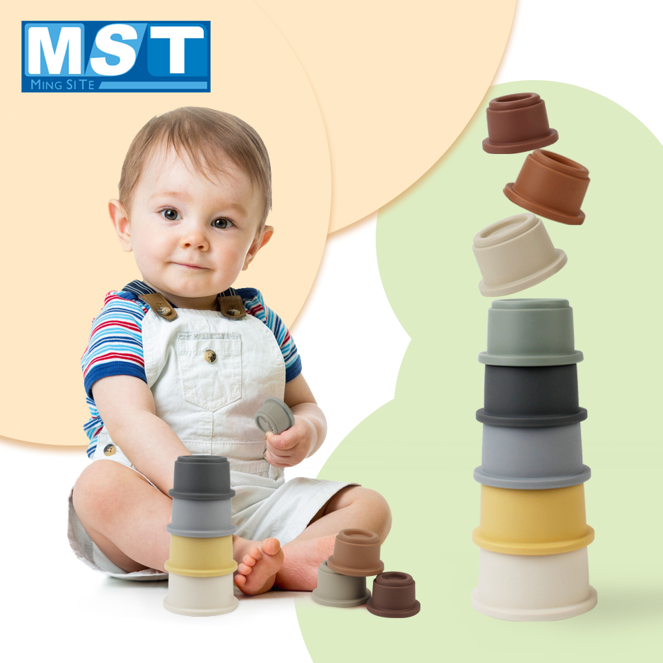 8PCS Baby Stacking Cup Toys Montessori Color Rainbow Stacking Ring Tower Toys Early Educational Intelligence Toy