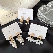 Luokey coreano moda taseel pérola brincos para as mulheres do vintage minimalista delicado charme brincos feminino orelha jóias atacado