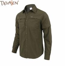 TACVASEN Мужская походная охотничья рубашка, военная тактическая одежда, быстросохнущая уличная рубашка, съемная рубашка с длинным рукавом, WSD-01